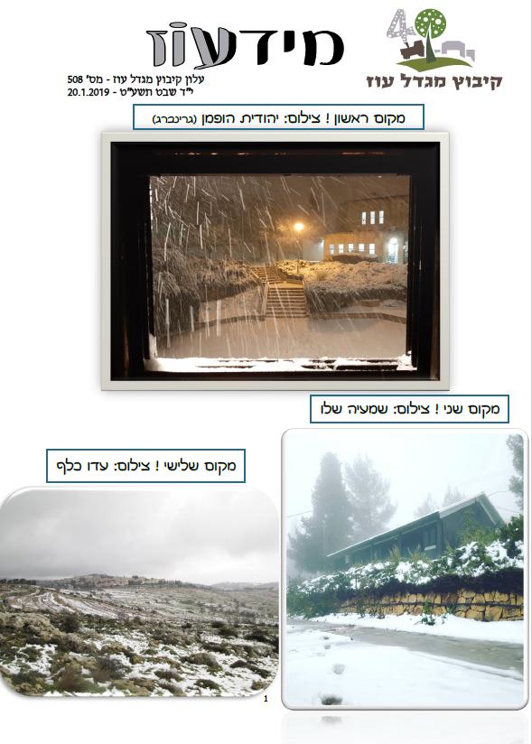 שלג במגדל עוז - ינואר 2019